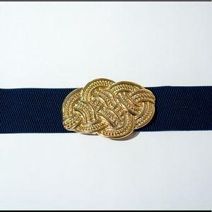 Lilly Pulitzer Navy Blue & Gold Knot Belt